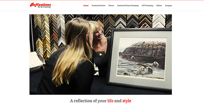 Reflections Art and Framing website