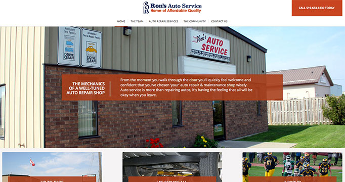 Ron's Auto Service website